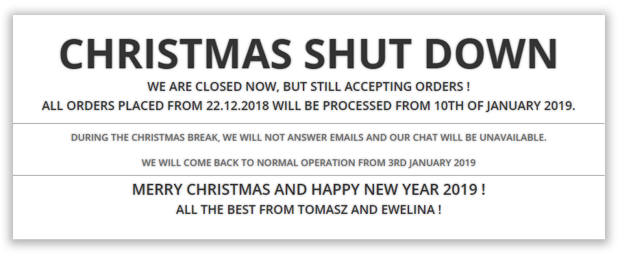 Christmas Shut Down