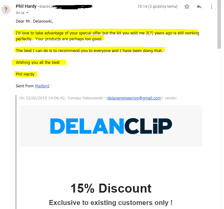 DELANCLiP – Returning Customer after 3 years saying he never had any issues !