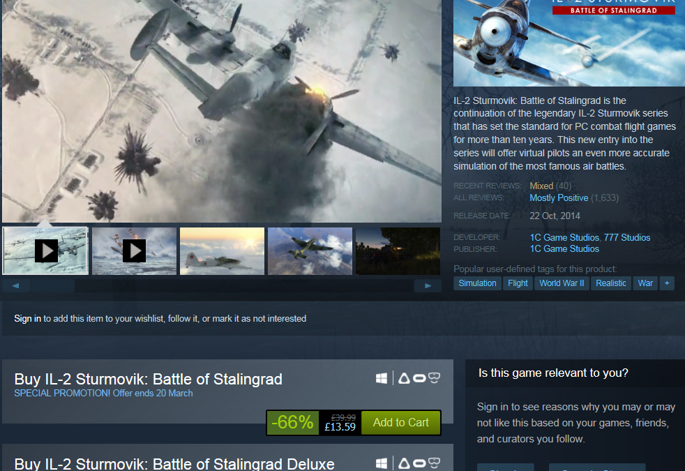 IL-2 Sturmovik: Battle of Stalingrad – 66% drop on price !
